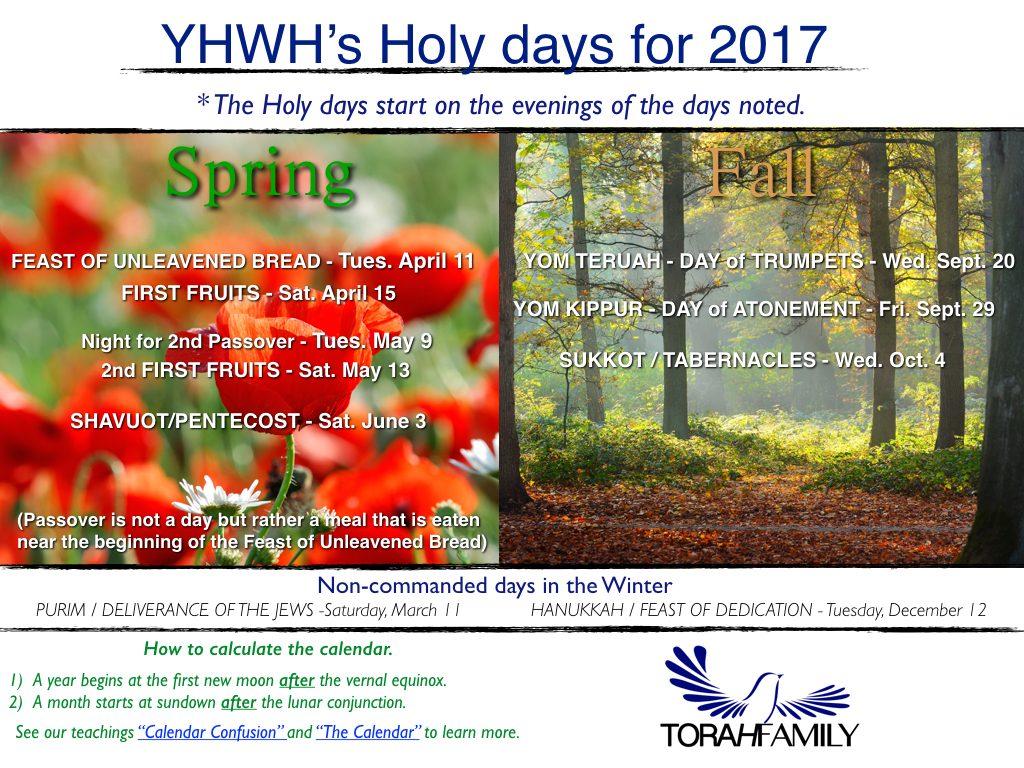 Torah Calendar.Yhwh S Holy Days Torah Family